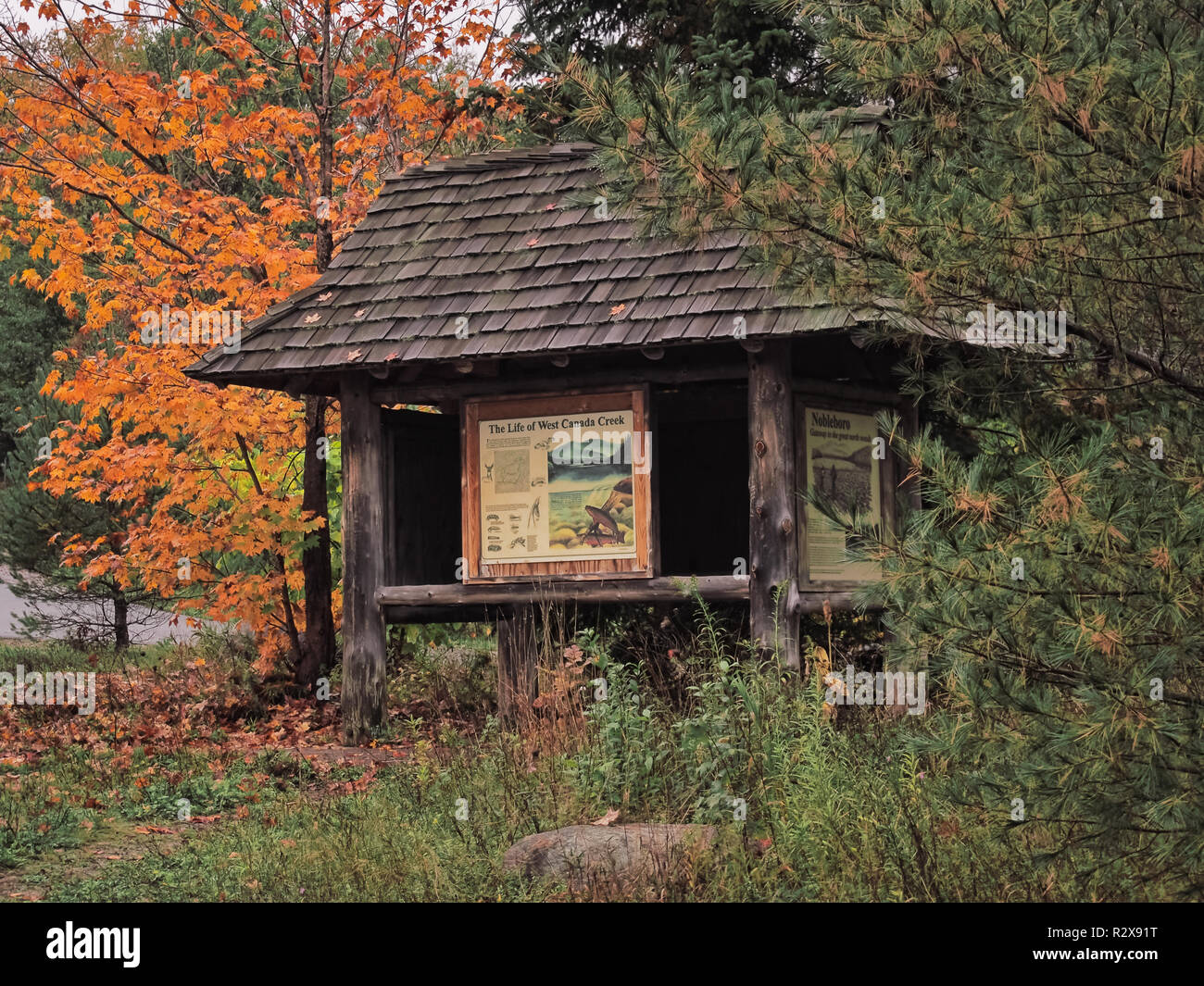 Hamilton County, New York, USA. October 10, 2018. Public information station at West Canada Creek outside Lake Pleasant in The Adirondack Muntains of  - Stock Image