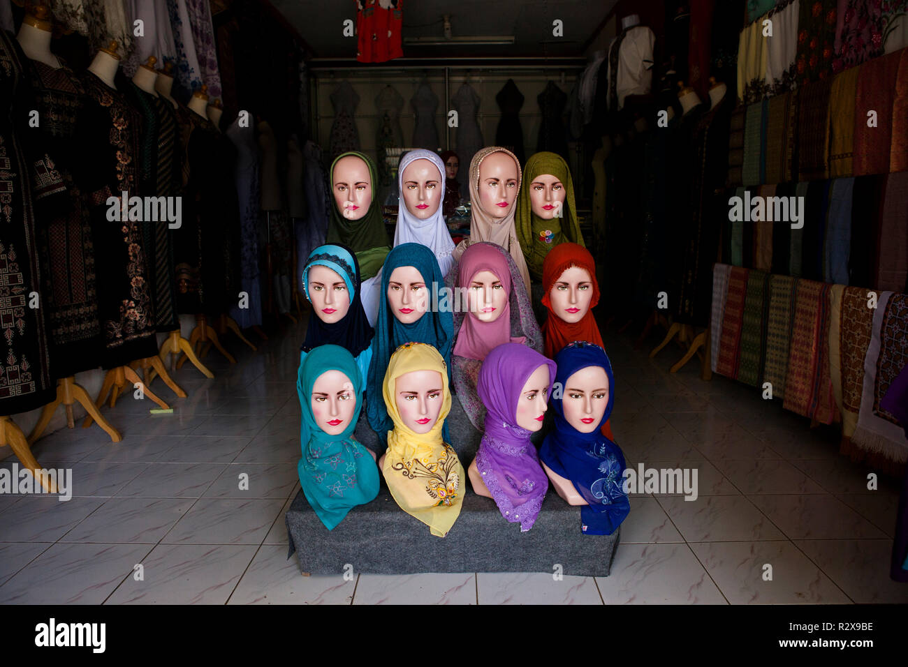 Hijabs for sale in Sumatra, Indonesia. - Stock Image