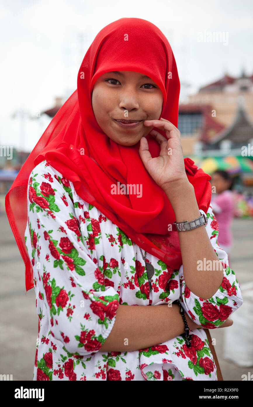 Young girl in Sumatra poses for portrait. - Stock Image