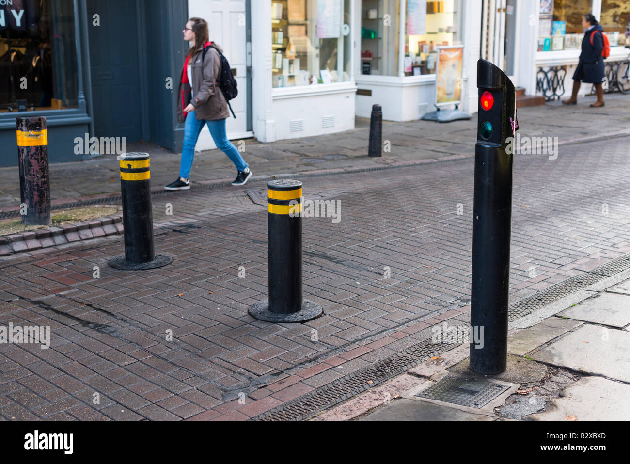 Automatic rising bollards to restrict traffic in Cambridge city centre, Cambridgeshire, England, UK - Stock Image