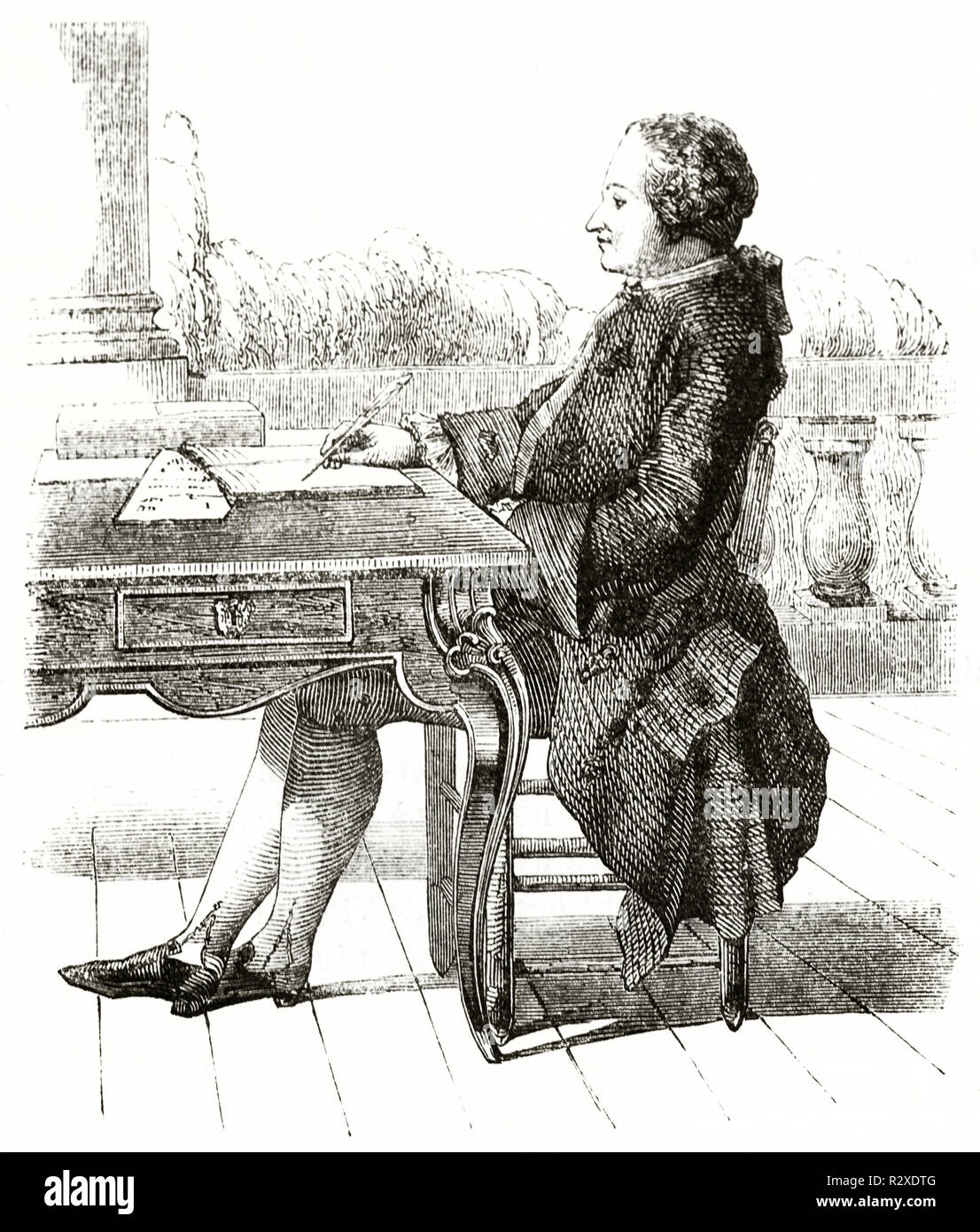 Portrait of Alexis Clairault (1713 – 1765), French astronomer and geophysicist. After Carmontelle, publ. on Magasin Pittoresque, Paris, 1846 - Stock Image