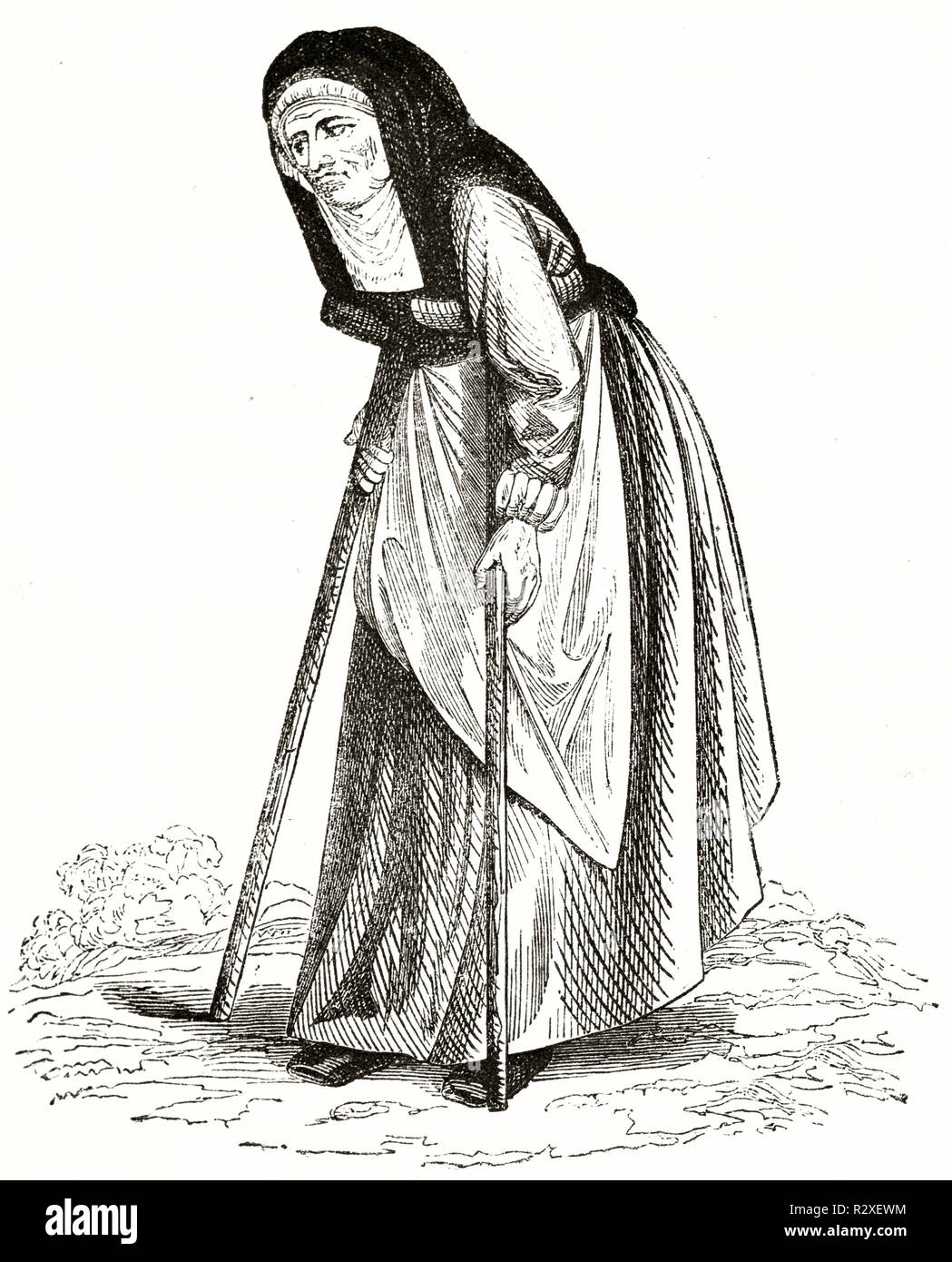 Old illustration depicting elderly woman. By unidentified author, publ. on Magasin Pittoresque, Paris, 1846 - Stock Image