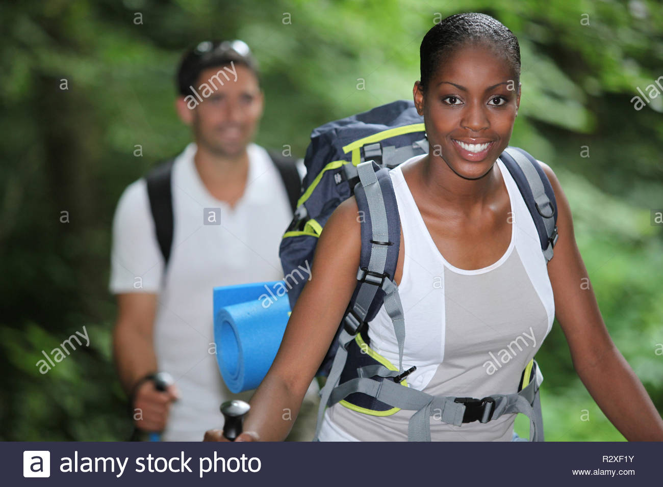 portrait of a woman hiking - Stock Image