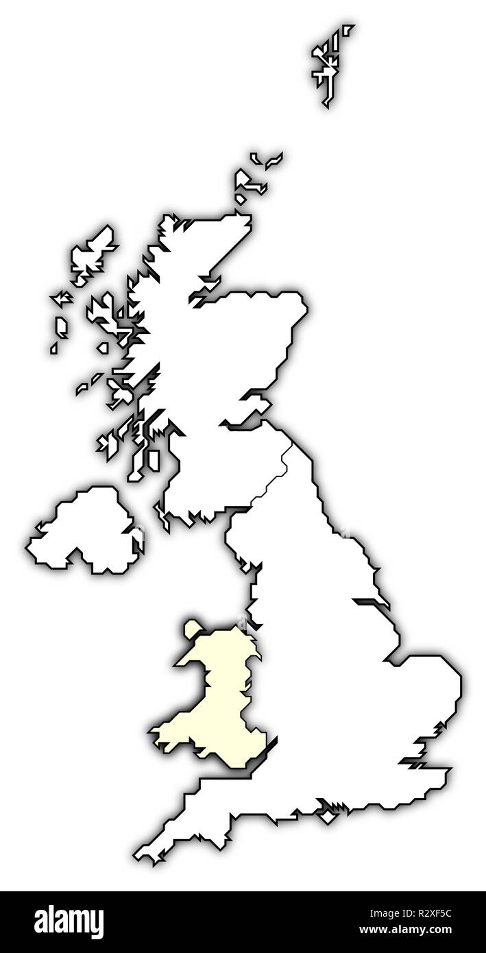 political map of united kingdom with the several countries where wales is highlighted. - Stock Image