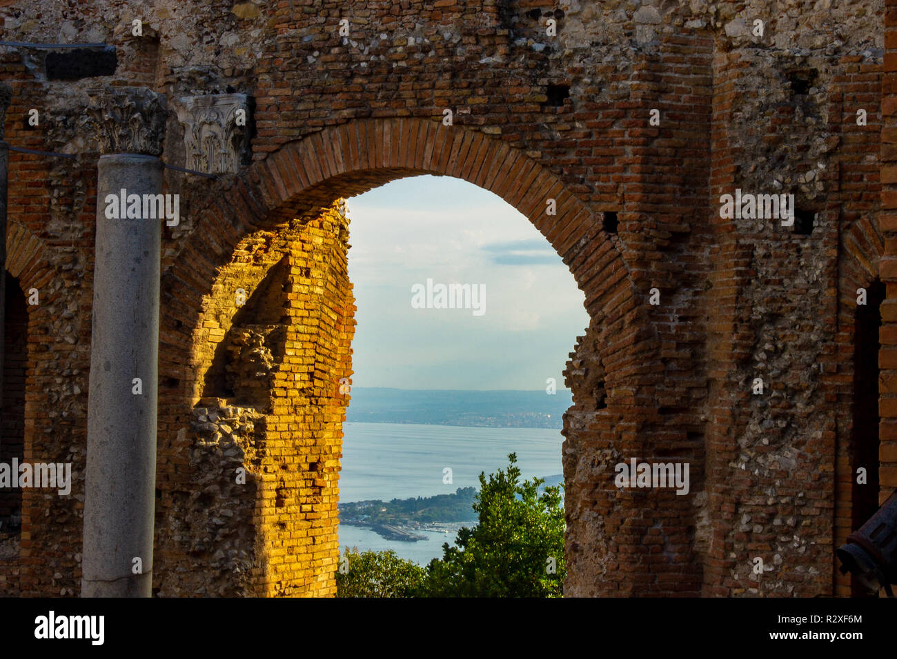 Taormina, Sicily, the window of Greek theater. - Stock Image