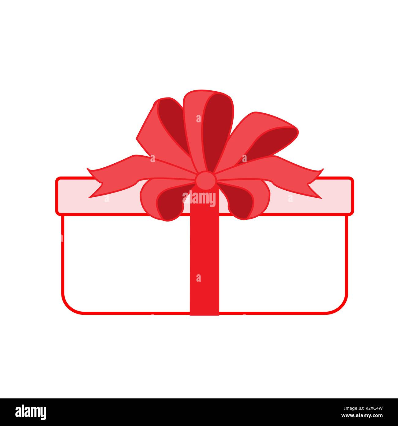 Gift Box With Red Ribbon Vector Icon Flat Style Stock Vector Image Art Alamy