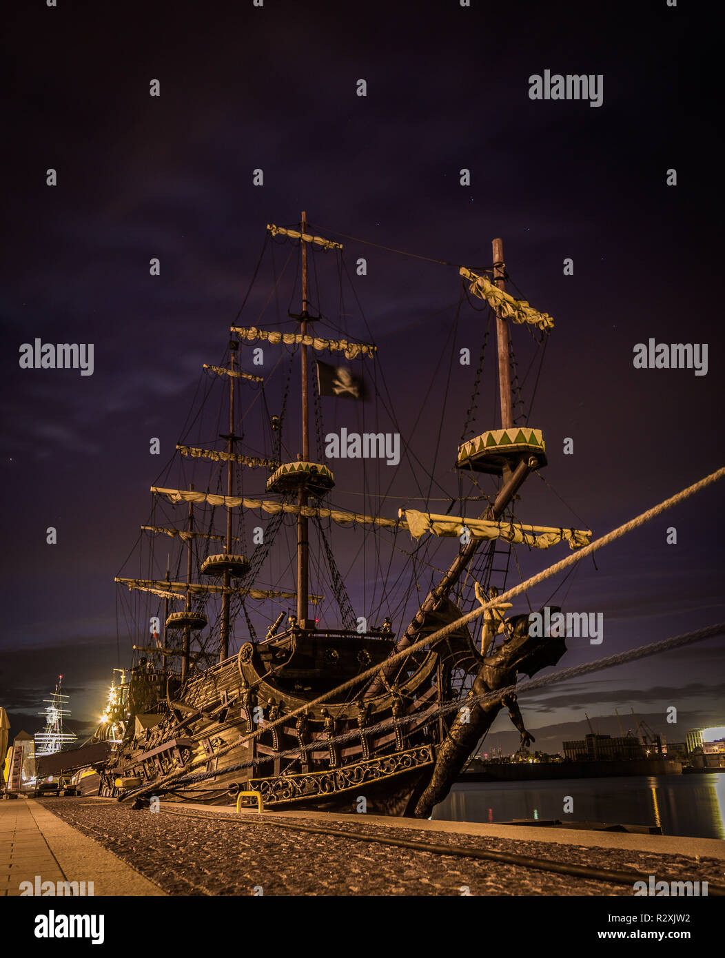 Old pirate ship anchored by the pier in Sopot, Gdyna - Stock Image