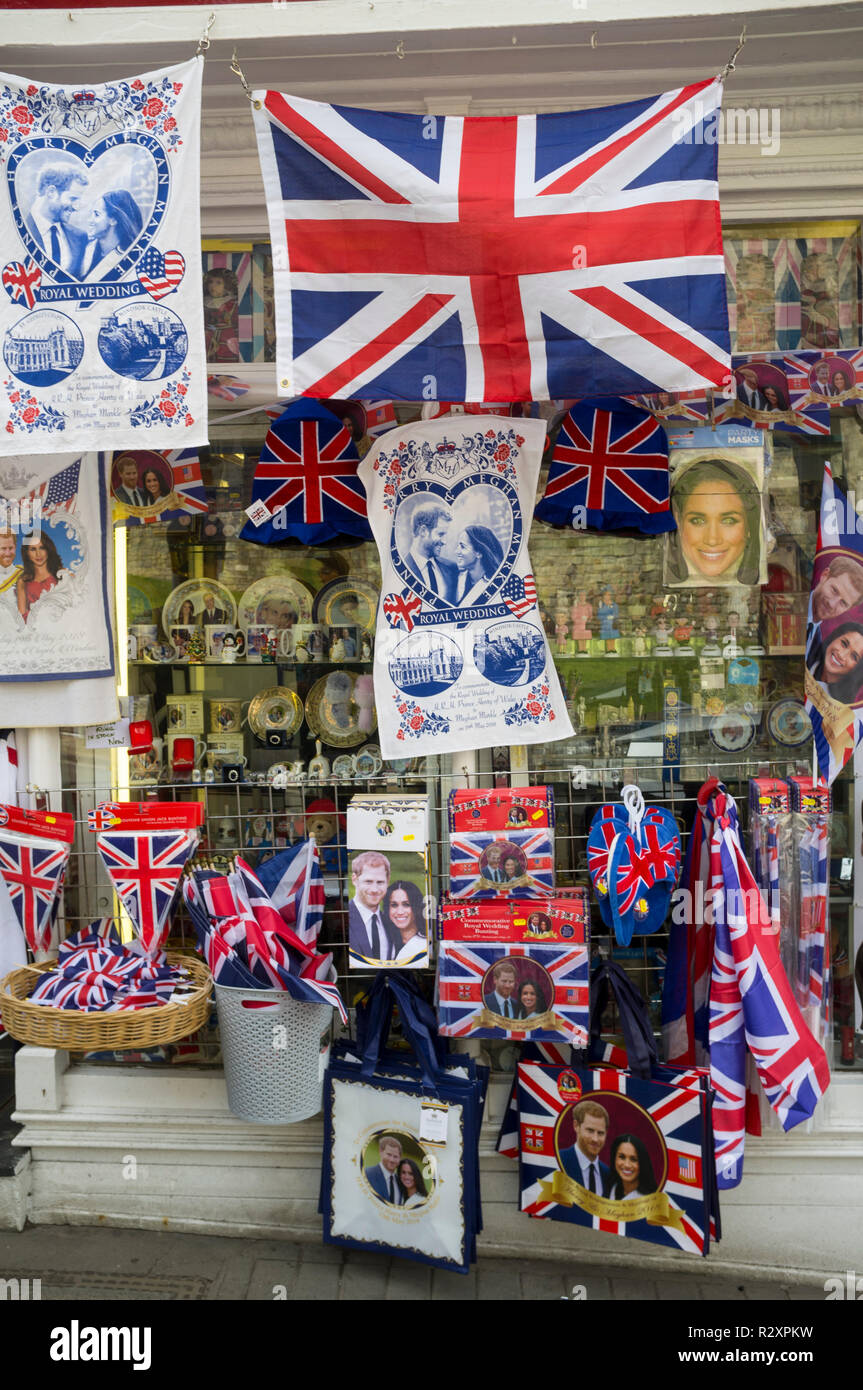 Royal Wedding memorabilia and souvenirs in a souvenir shop for the Royal Wedding of Prince Harry and Meghan Markle, Windsor, Berkshire - Stock Image