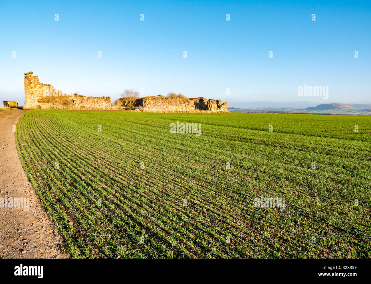 Unfinished ruined  Barnes Castle with view across field from Garleton ridge to Traprain Law on sunny  day, East Lothian, Scotland, UK - Stock Image