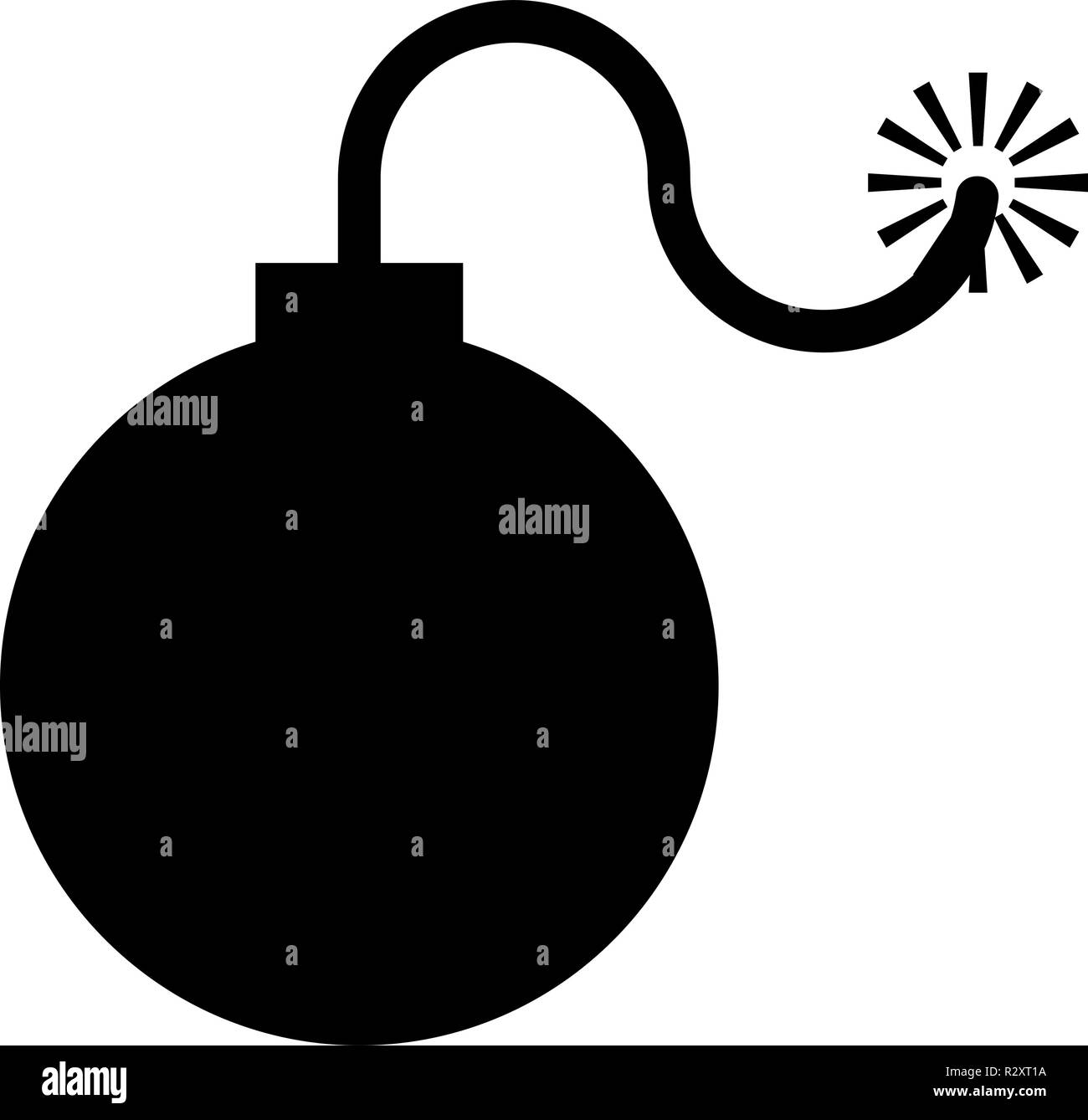 Bomb explosive military Anicent time bomb Weapon with fire spark concept advertising boom icon black color vector I flat style simple image - Stock Image