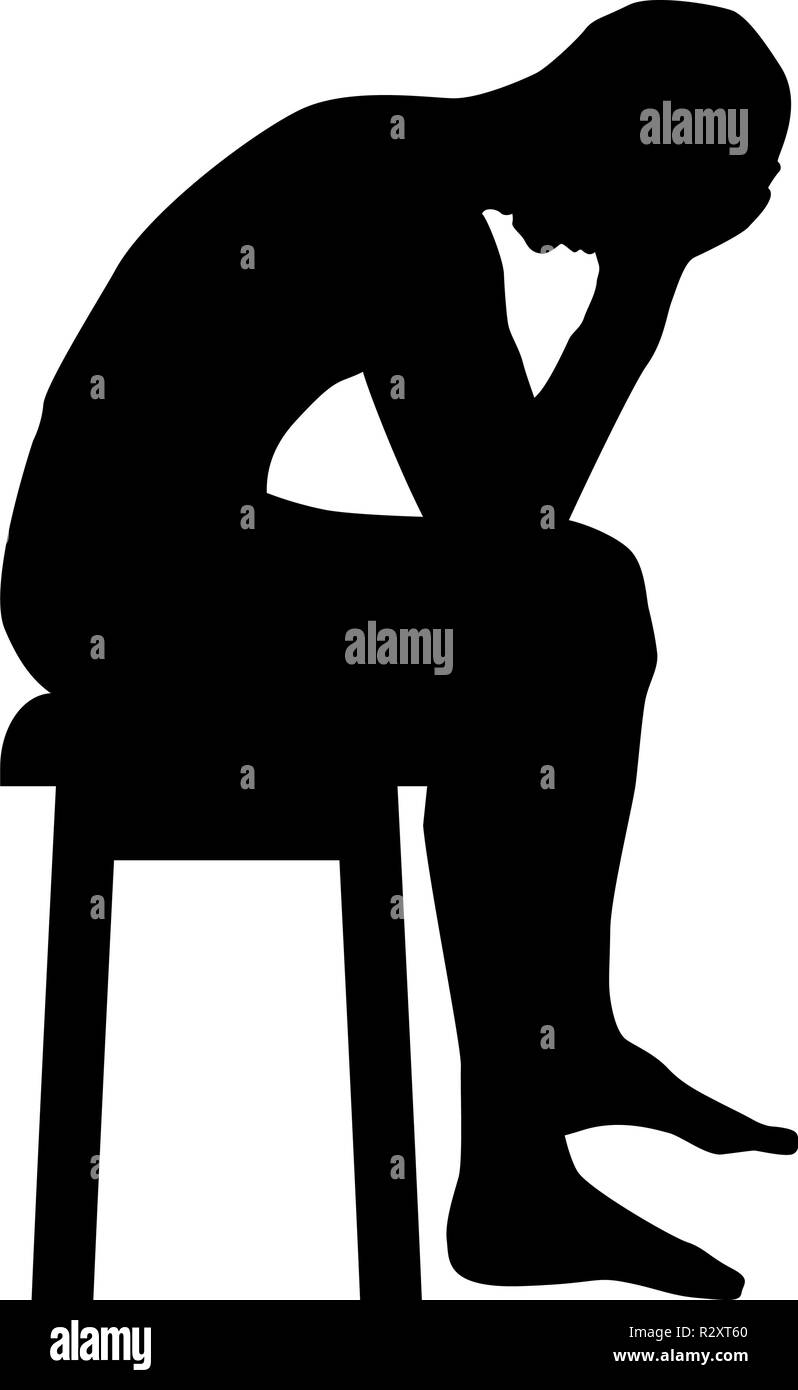 Man holding his head concept problem silhouette Sitting no seat icon black color vector I flat style simple image - Stock Vector