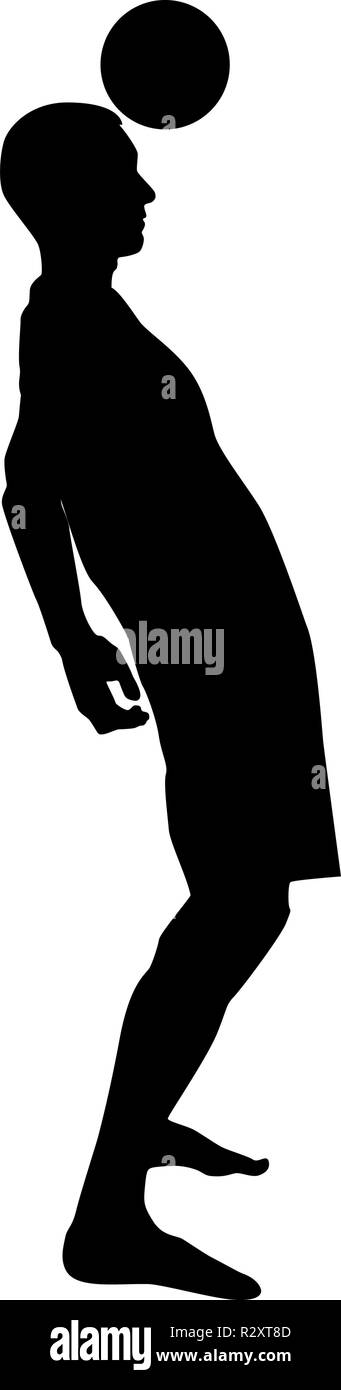 Soccer player hitting the ball head silhouette headbutt icon black color vector I flat style simple image - Stock Image