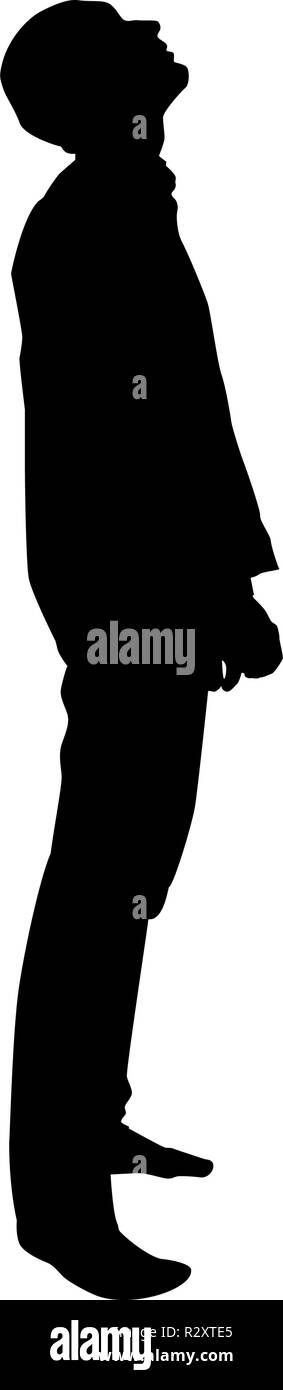 Man looks up silhouette icon black color vector I flat style simple image - Stock Vector
