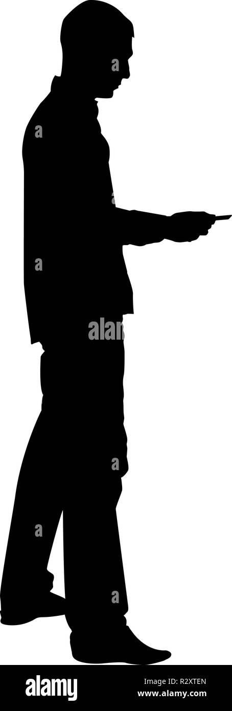 Man passes the card Business pay credit card silhouette icon black color vector I flat style simple image - Stock Vector