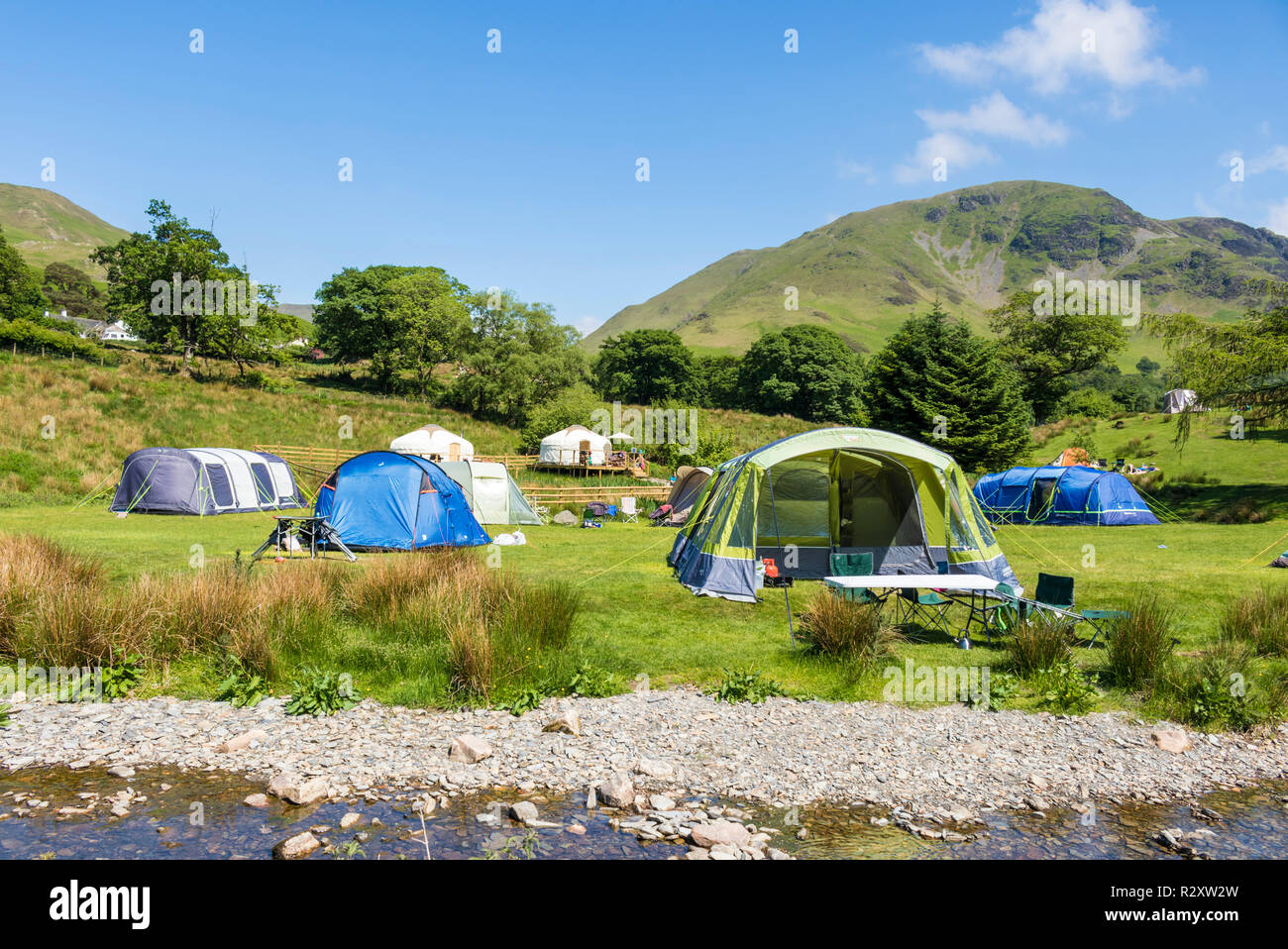 Lake District UK Buttermere Lake District national park People camping at Syke Farm Campsite Buttermere Cumbria England UK GB Europe - Stock Image