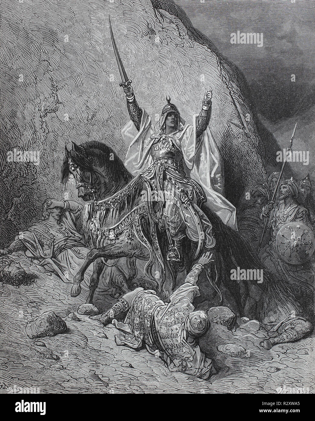 Digital improved reproduction, saladin was from 1171 the first sultan of egypt and from 1174 sultan of syria, Saladin war ab 1171 der erste Sultan von Ägypten und ab 1174 Sultan von Syrien, Third Crusade. Salaheddin, from an original print published in the 19th century - Stock Image