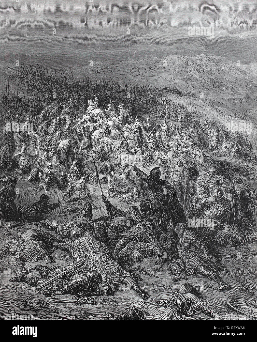 Digital improved reproduction, The Battle of Ascalon took place on 12 August 1099 shortly after the capture of Jerusalem, and is often considered the last action of the First Crusade. Die Schlacht bei Ascalon, from an original print published in the 19th century - Stock Image