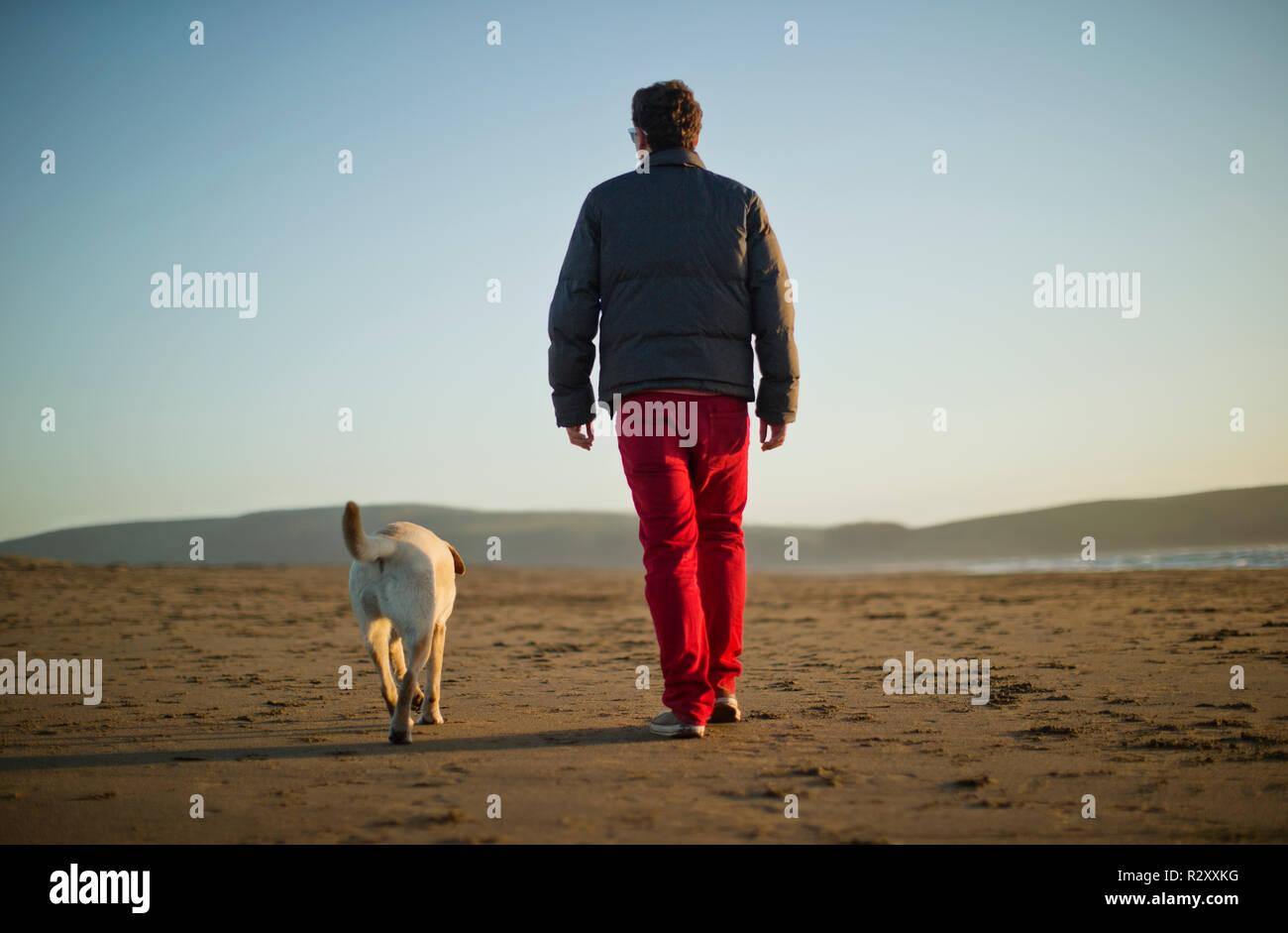 Teenage boy walking on beach with his dog. - Stock Image