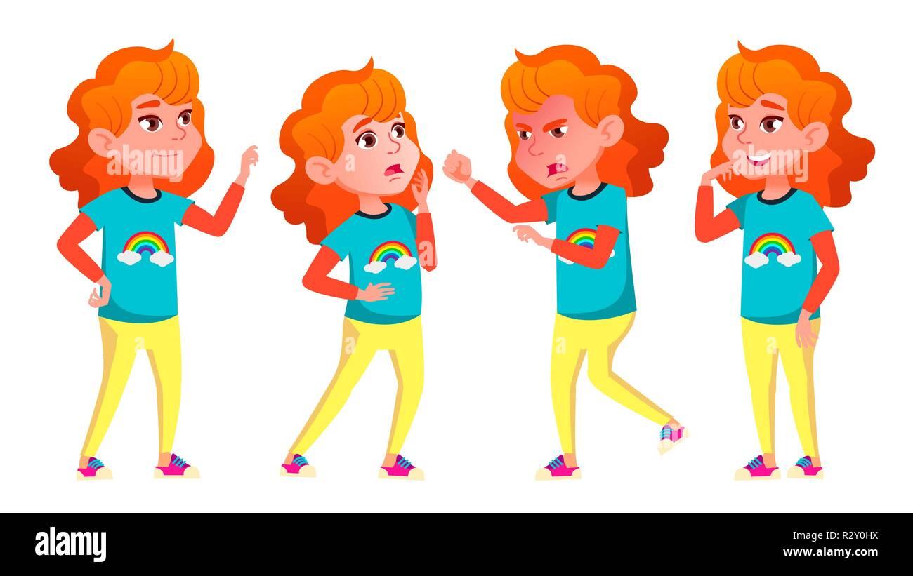 Girl Poses Set Vector. High School Child. Schoolchildren, Teen. For Web, Poster, Booklet Design. Isolated Cartoon Illustration - Stock Vector