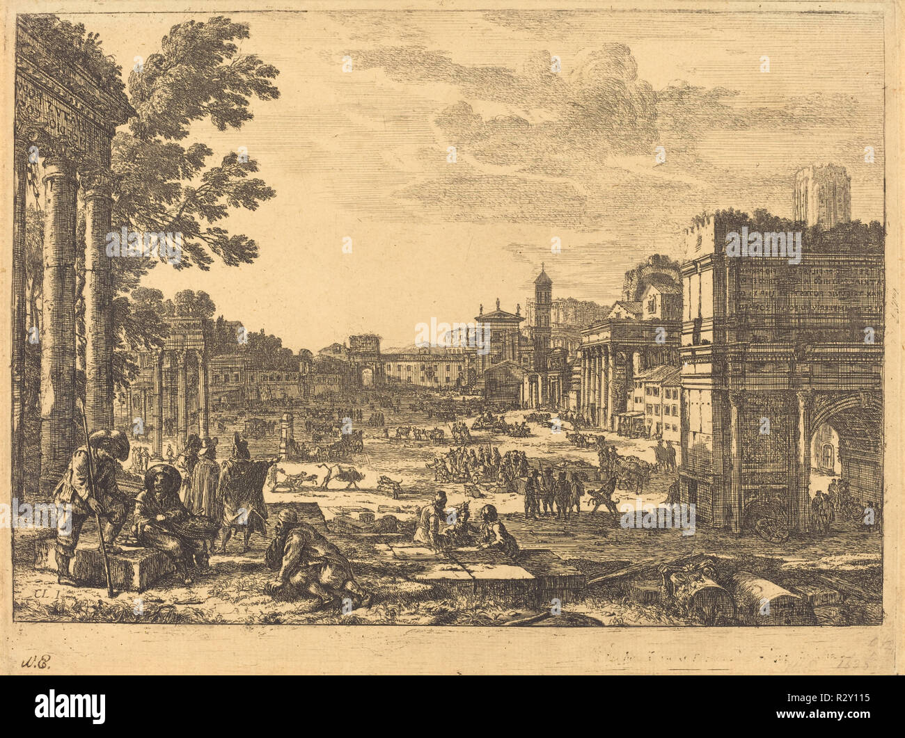The Roman Forum (Le Campo Vaccino). Dated: 1636. Medium: etching. Museum: National Gallery of Art, Washington DC. Author: Claude Lorrain. - Stock Image