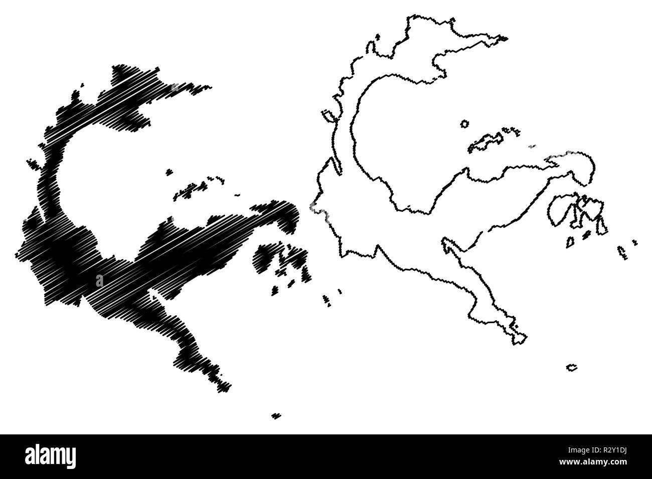 Central Sulawesi (Subdivisions of Indonesia, Provinces of Indonesia) map vector illustration, scribble sketch Sulawesi Tengah map - Stock Image