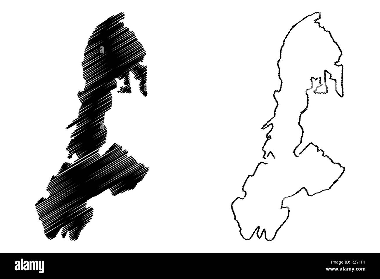 Buton Island (Subdivisions of Indonesia, Provinces of Indonesia) map vector illustration, scribble sketch Buton (Butung, Boeton or Button) map - Stock Image