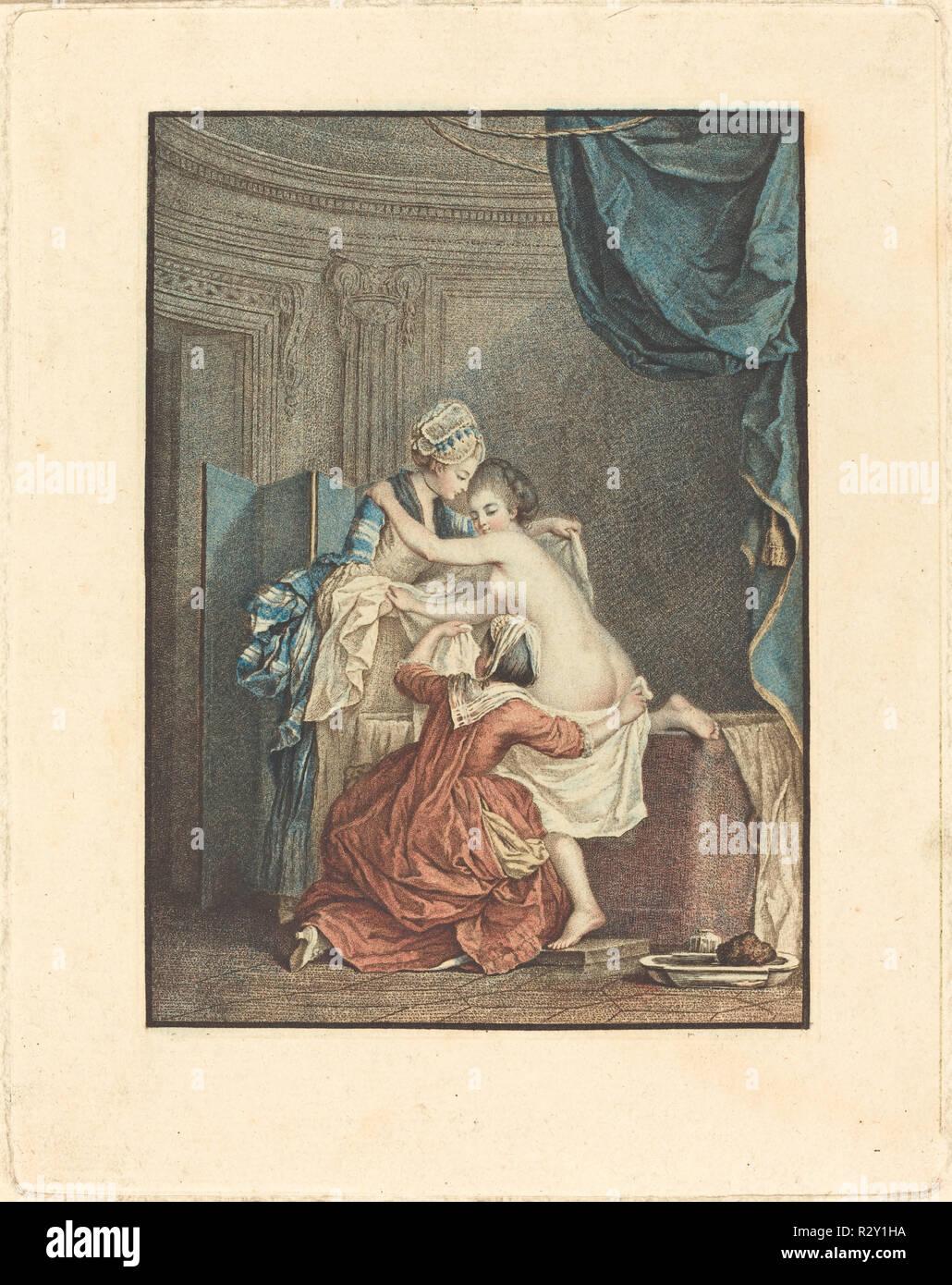 Le bain (The Bath). Medium: color stipple etching and etching. Museum: National Gallery of Art, Washington DC. Author: Nicolas François Regnault after Pierre-Antoine Baudouin. Stock Photo
