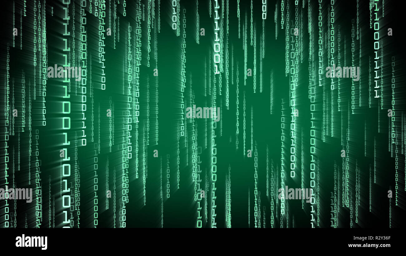 Binary green particles falling in Matrix. Network digital concept - Stock Image
