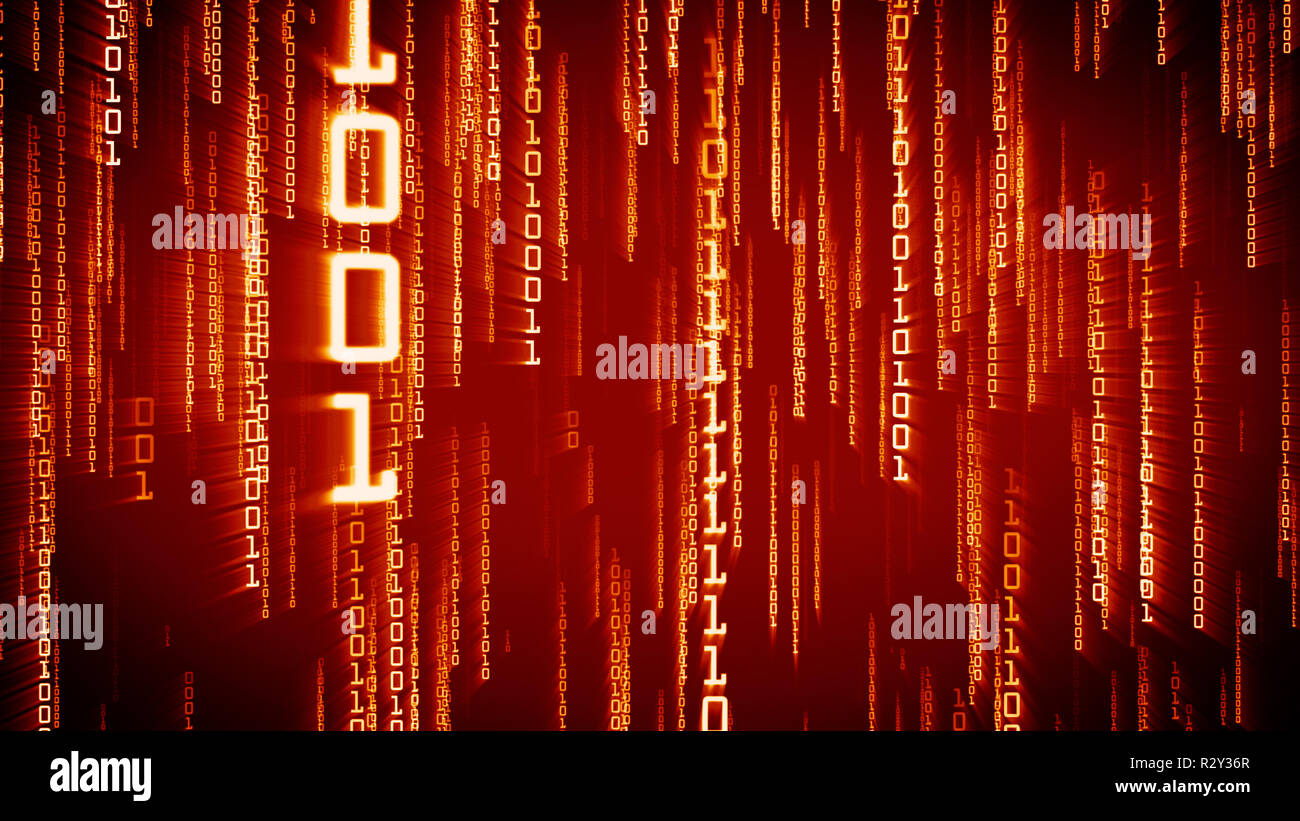 Binary red particles falling in Matrix. Network digital concept - Stock Image