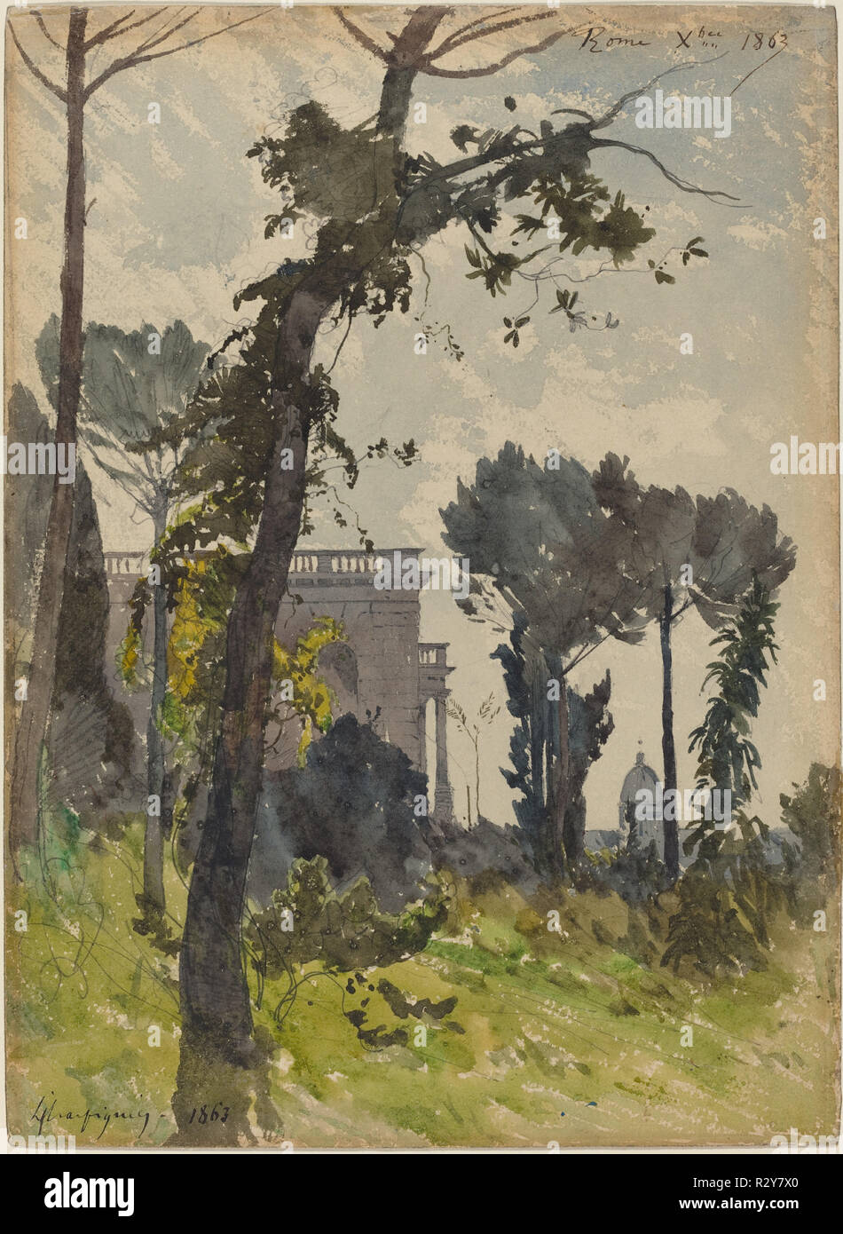 View of the Dome of Saint Peter's, Rome. Dated: 1863. Dimensions: overall: 32.4 x 23.7 cm (12 3/4 x 9 5/16 in.). Medium: watercolor over graphite on wove paper. Museum: National Gallery of Art, Washington DC. Author: Henri-Joseph Harpignies. - Stock Image