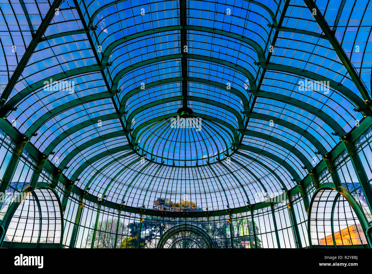 View of the interior of the Royal Glasshouses in Brussels, Belgium - Stock Image