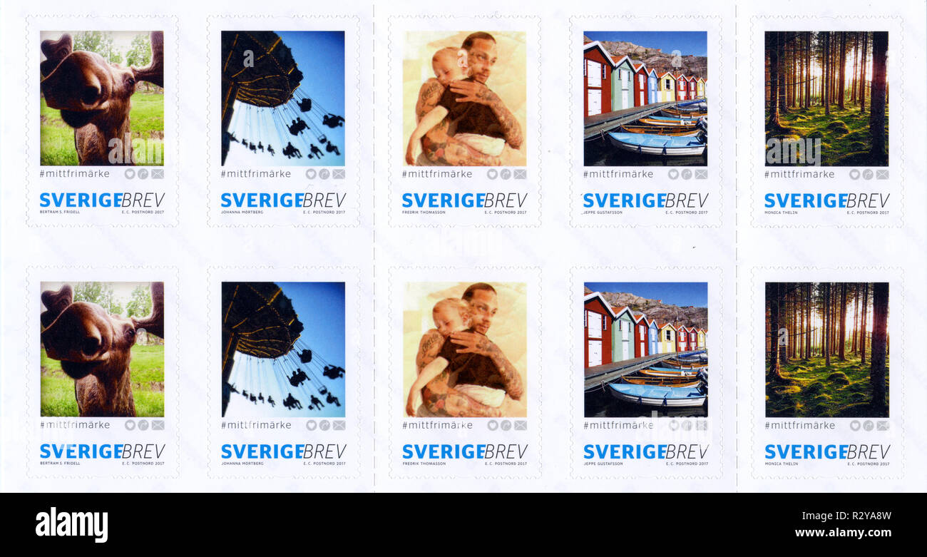 Postage stamps from Sweden in the My Stamps series issued in 2017 - Stock Image