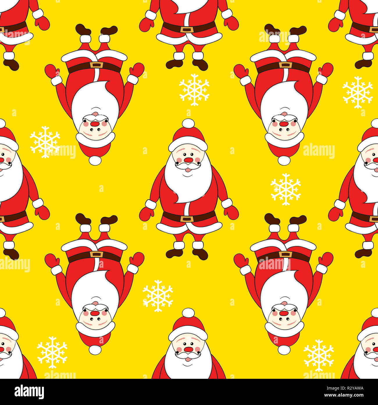 Christmas Seamless Pattern With Cartoon Santa Claus Against