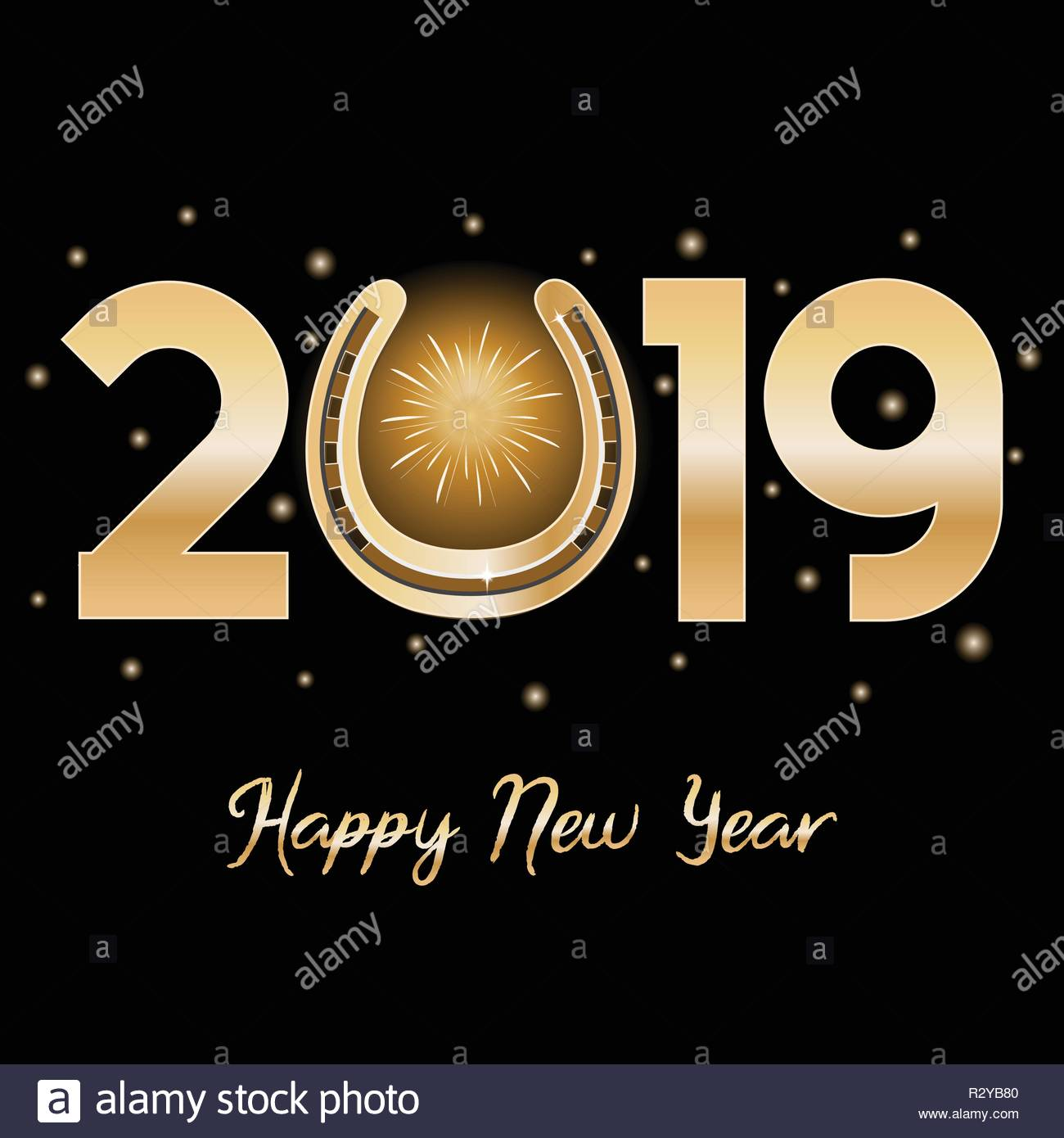 Happy New Year message depicting gold lettering and horseshoe. Isolated on a black background. - Stock Image