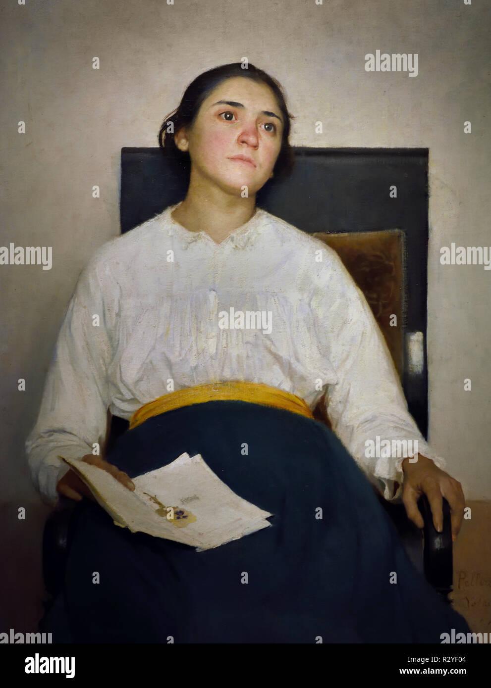Memory of Sorrow ( portrait of Santina Negri ) 1889 Giuseppe Pellizza Da Volpedo 1868-1907 20th, century, Italy, Italian. - Stock Image