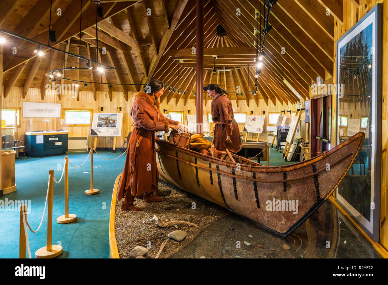 Exhibition inside the Beothuk Interpretation Centre Provincial Historic Site at Boyd's Cove, Newfoundland. - Stock Image