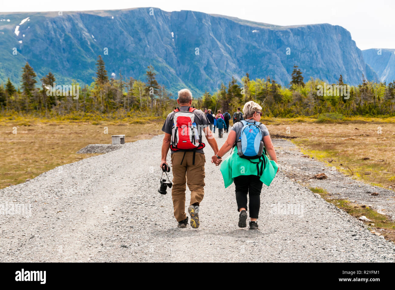 People walking along track to start of Western Brook Pond in Gros Morne National Park, Newfoundland. Group heading to boat trip. - Stock Image