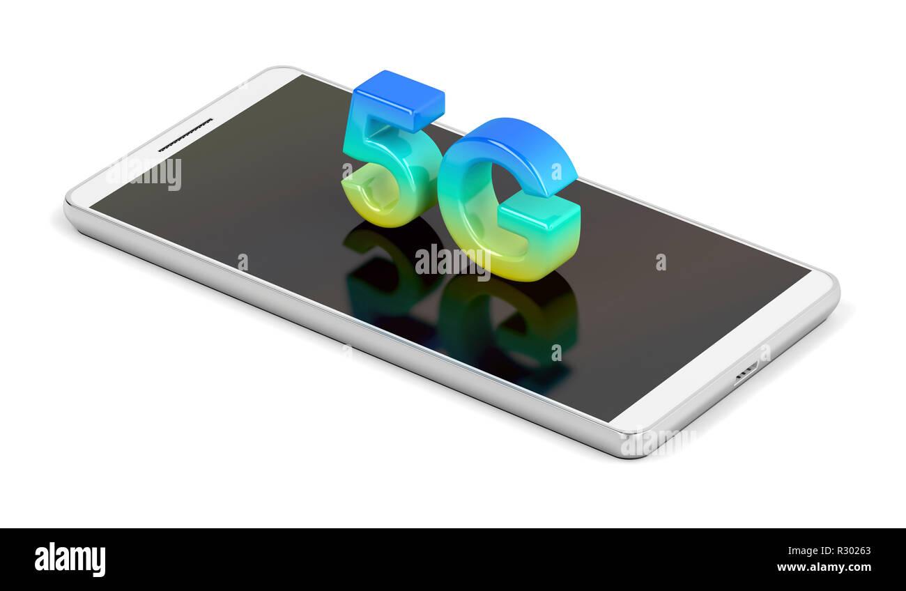 Fifth generation smart phone on white background - Stock Image
