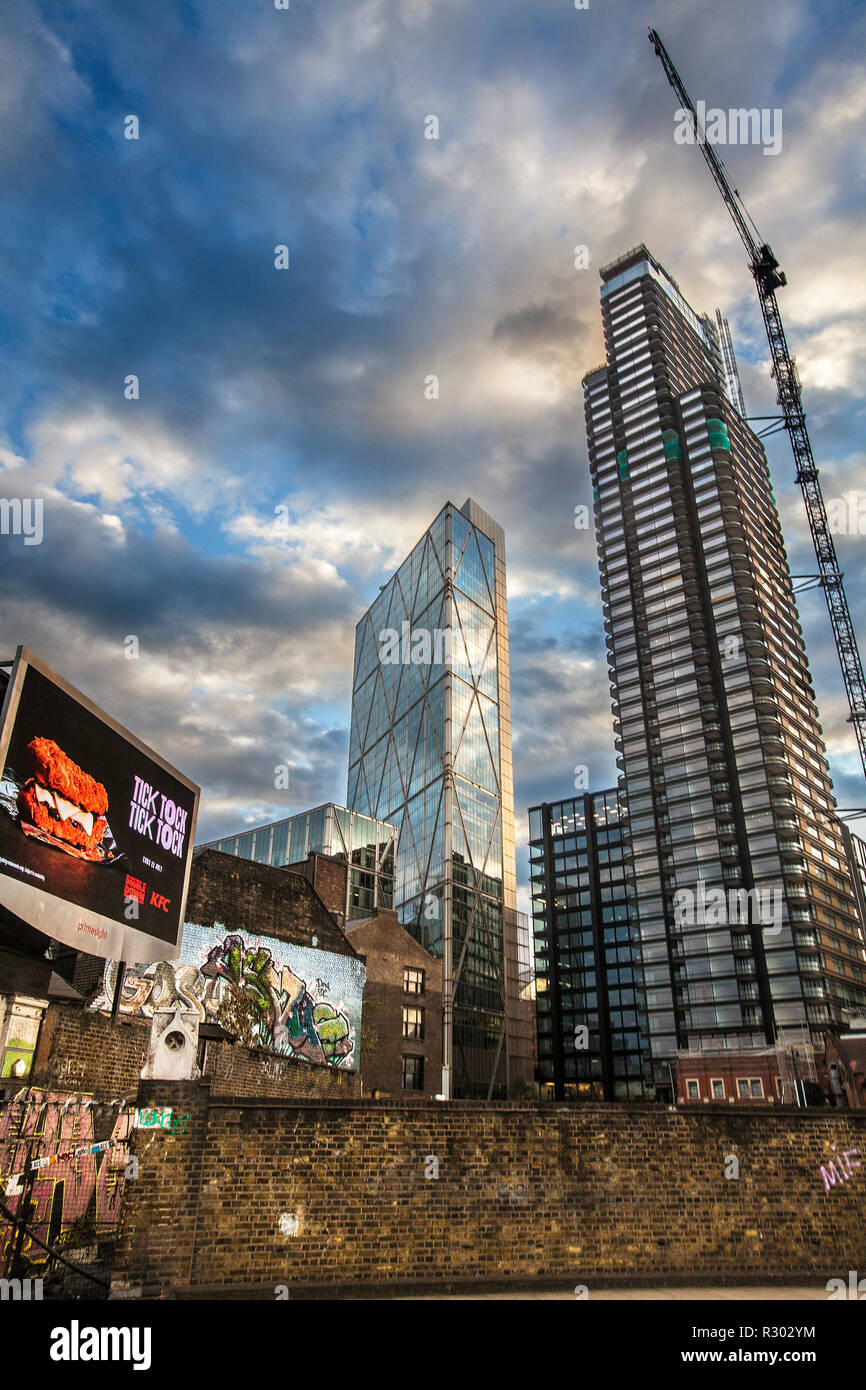 contrasting old and new architecture, on Commercial Street , East London, London, United Kingdom, - Stock Image