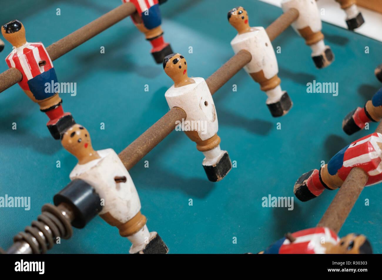 table soccer figures - table football player closeup - - Stock Image