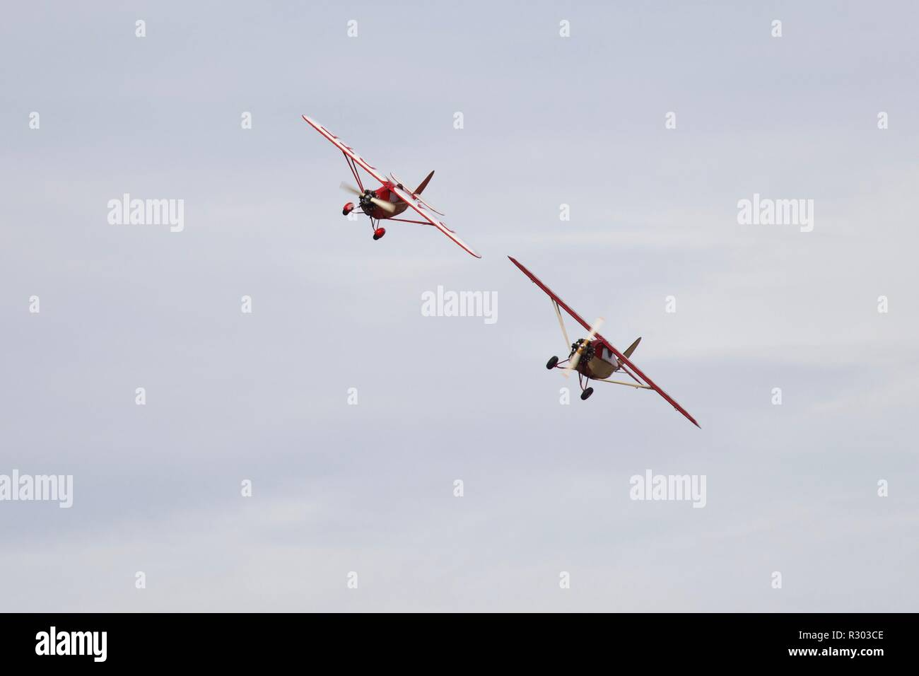 2 Comper Swifts flying at Old Warden - Stock Image
