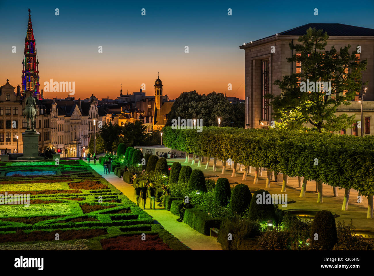 Panoramic view over the Brussels city center at Mont des Arts during a hot summer evening with a colorful sky in Brussels, Belgium - Stock Image