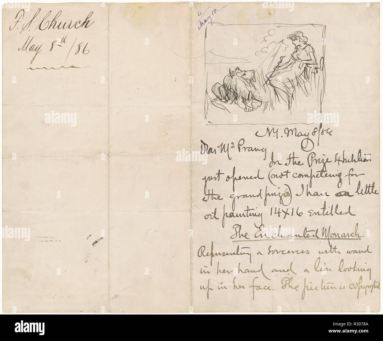 Study after 'The Enchanted Monarch'. Dated: 1886. Dimensions: sheet: 20.32 × 24.77 cm (8 × 9 3/4 in.). Medium: pen and black ink on hand-written letter to Mr. Prang from Frederick Stuart Church. Museum: National Gallery of Art, Washington DC. - Stock Image