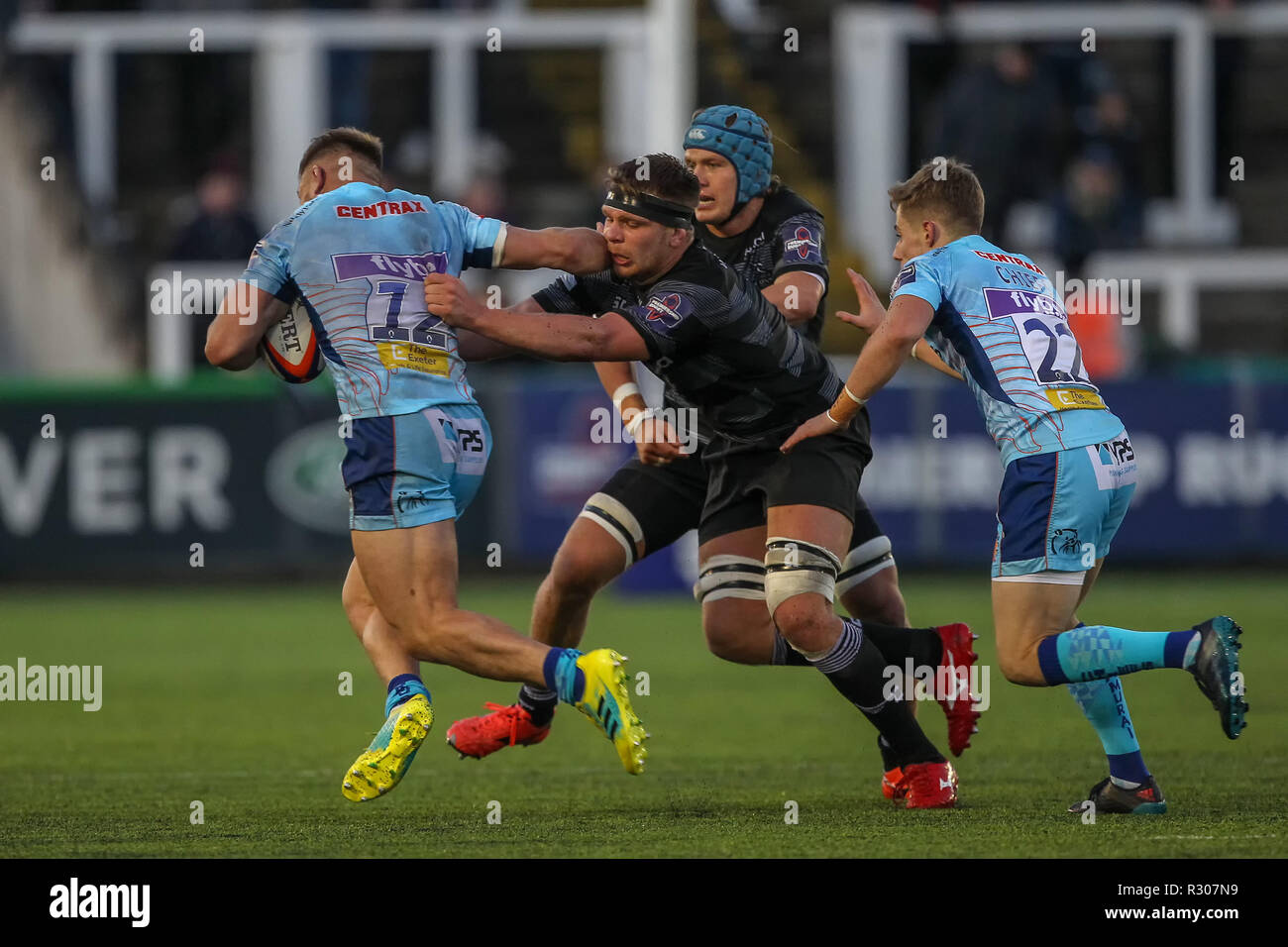 NEWCASTLE UPON TYNE. 28th October 2018  Callum Chick of Newcastle Falcons tries to hang on to Sam Hill during the Premiership Cup match between Newcastle Falcons and Exeter Chiefs at Kingston Park, Newcastle upon Tyne on Sunday 28th October 2018. ©MI News & Sport Ltd  | Alamy Live News - Stock Image
