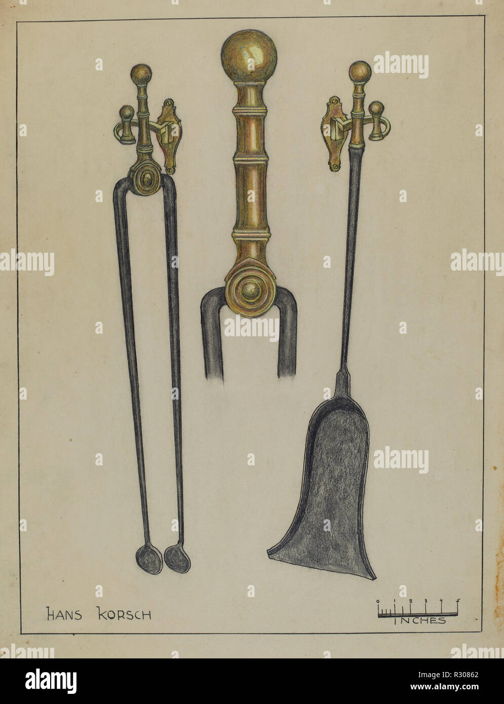 Fireplace Set. Dated: 1935/1942. Dimensions: overall: 29.8 x 22.8 cm (11 3/4 x 9 in.). Medium: graphite and watercolor on paper. Museum: National Gallery of Art, Washington DC. Author: Hans Korsch. - Stock Image