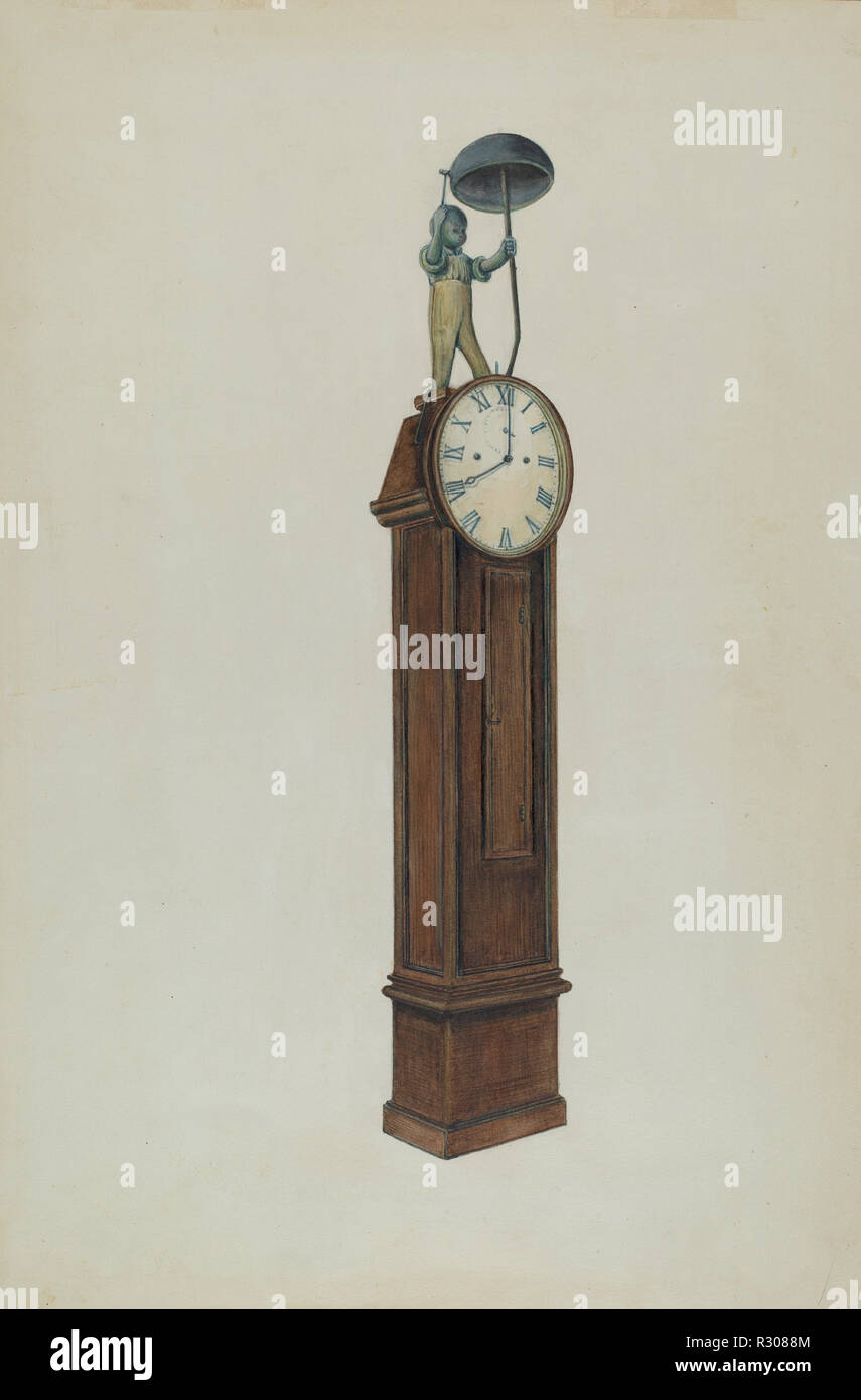 """Plantation Clock. Dated: c. 1937. Dimensions: overall: 40.4 x 26.9 cm (15 7/8 x 10 9/16 in.)  Original IAD Object: 9'6""""high; 19""""wide; Fig. 2'2"""". Dial diameter: 25 1/2"""". Medium: watercolor, colored pencil, gouache, and graphite on paper. Museum: National Gallery of Art, Washington DC. Author: Al Curry. Stock Photo"""