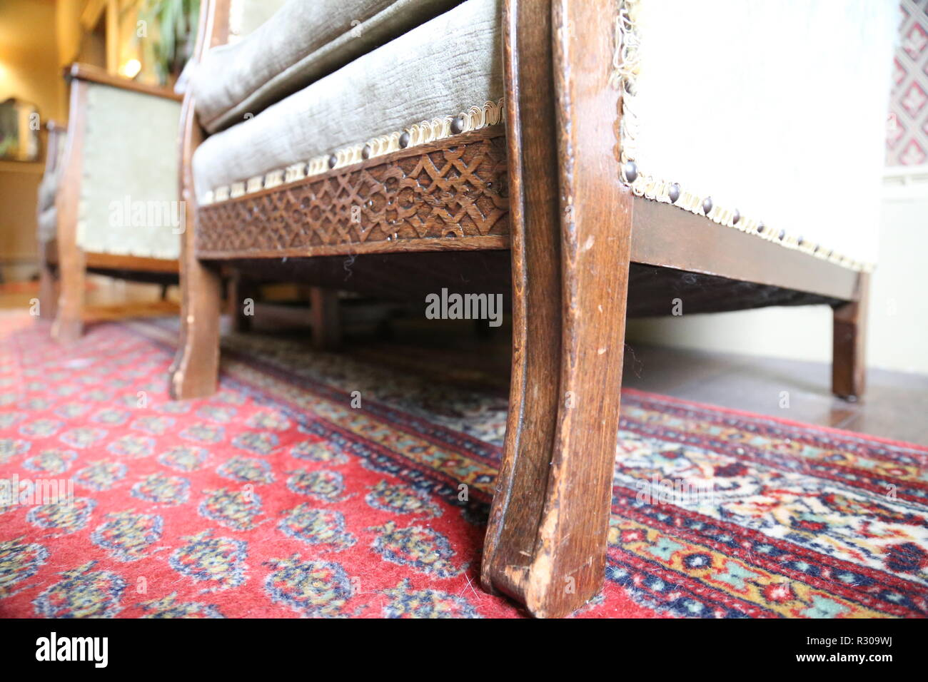 Wooden Chair base with pattern - Stock Image