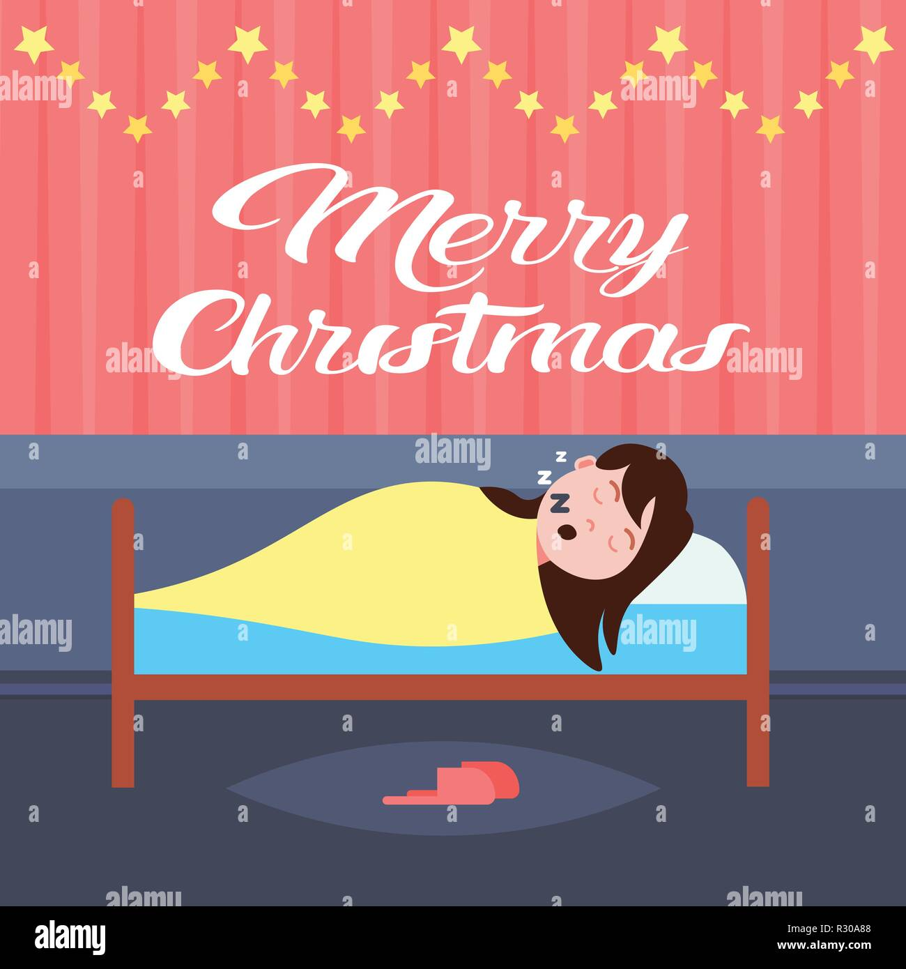 woman sleep in bad living room decorated interior merry christmas happy new year holidays concept flat Stock Vector