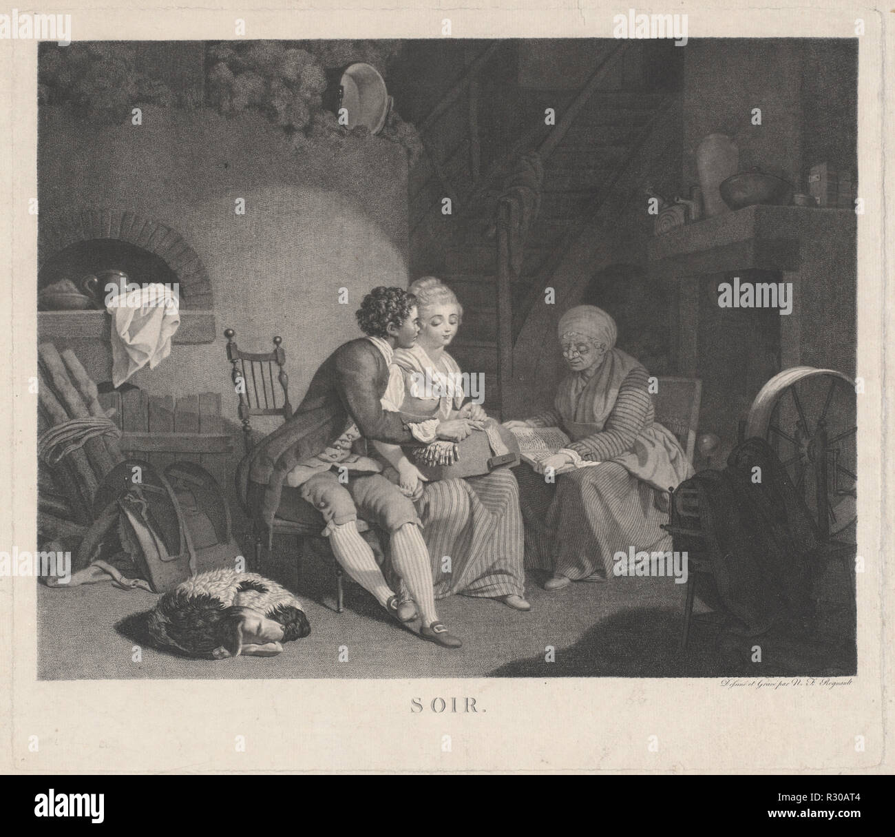 Soir (Evening). Dated: 1780s. Dimensions: plate: 42.2 × 48.6 cm (16 5/8 × 19 1/8 in.)  sheet: 44.1 × 54.8 cm (17 3/8 × 21 9/16 in.). Medium: etching and stipple etching on laid paper. Museum: National Gallery of Art, Washington DC. Author: Nicolas Francois Regnault. Stock Photo