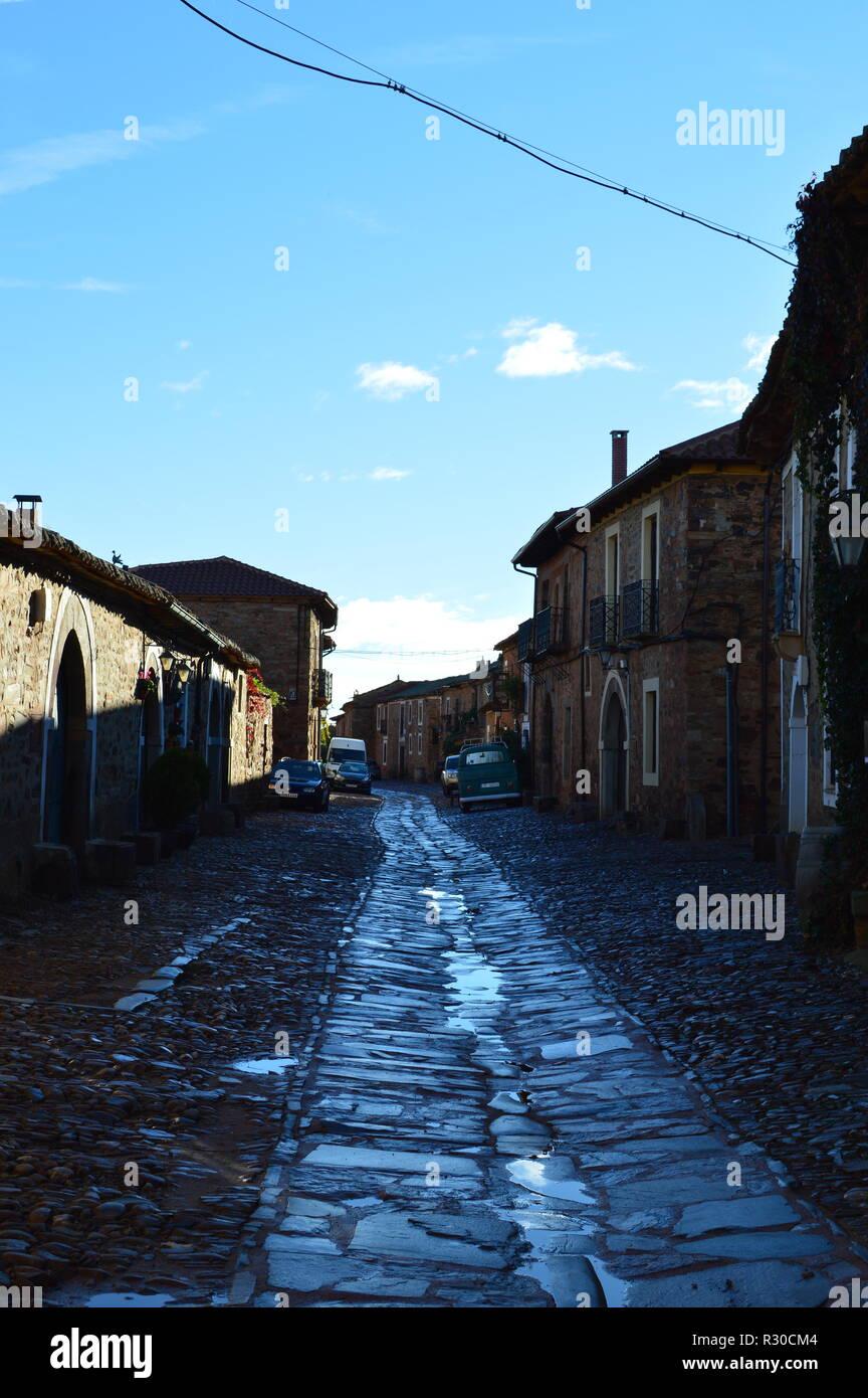 Streets Of The XVI Century In Castrillo De Los Polvazares. Architecture, History, Camino De Santiago, Travel, Street Photography. November 2, 2018. Ca - Stock Image